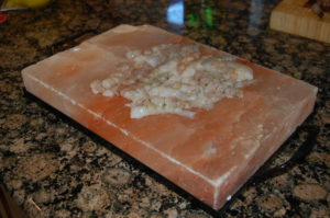 Ceviche made on Himalayan salt stone - cooked by the salt and lemon