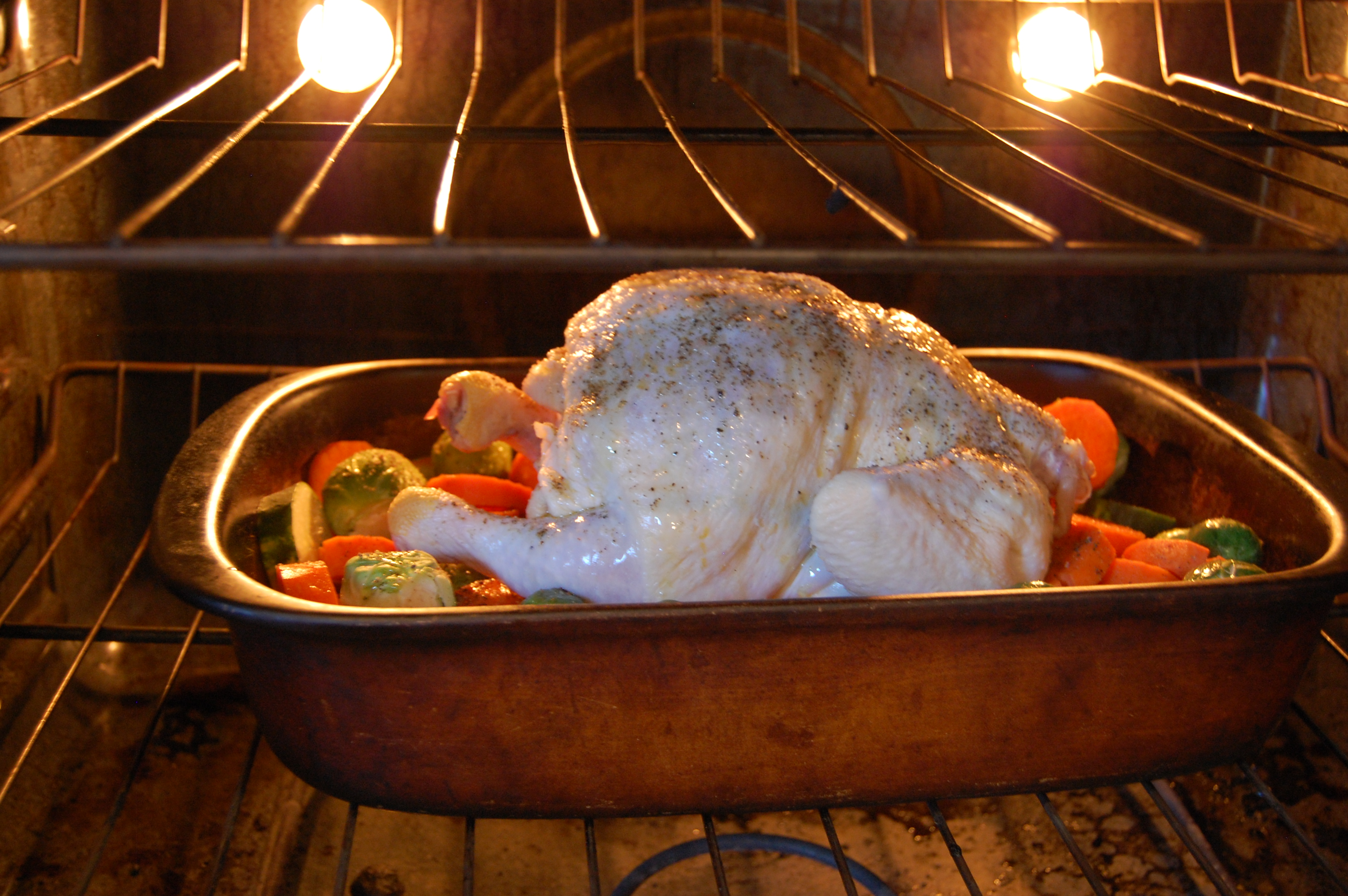 Roasted Chicken on Veggies