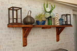 Outdoor shelf on patio
