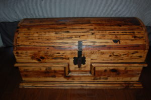 Refinished wooden chest