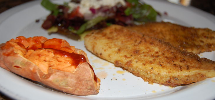 A Healthy Dinner in 20 minutes: Pan Crusted Tilapia, Baked Sweet Potato and Chopped Salad