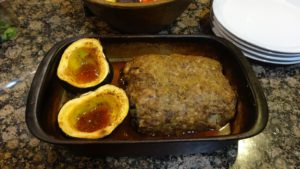 Save a dish to wash by cooking the squash with the meatloaf