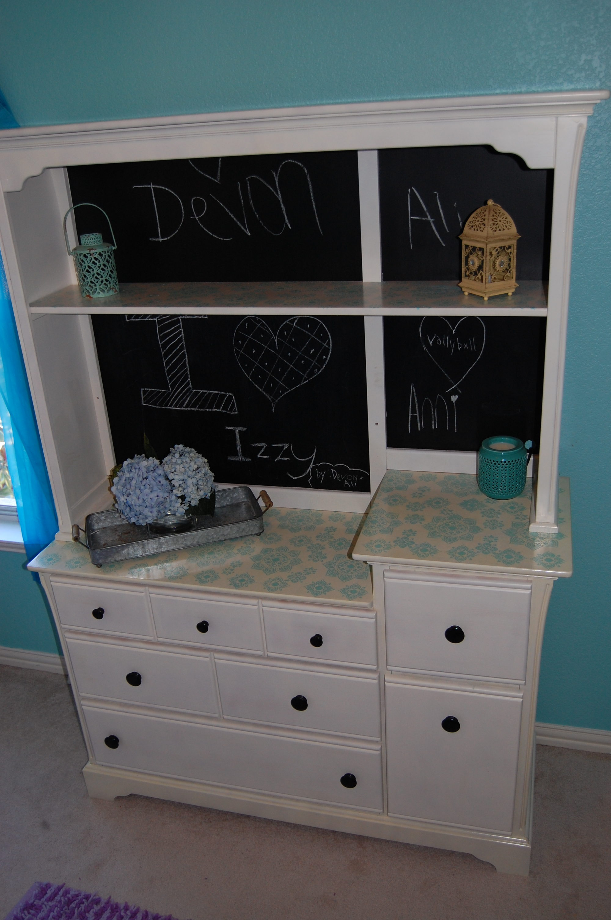 Stencilled dresser with hutch turned chalk board