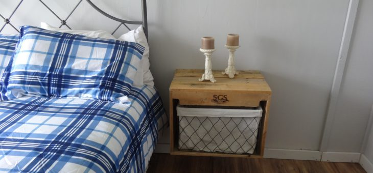 Floating bedside tables made from old pallets
