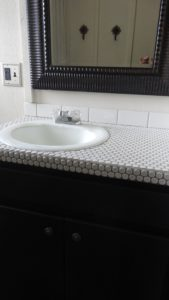 Beautiful after pic of bathroom sink salvage
