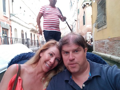 Enjoying our gondola ride in Venice Italy