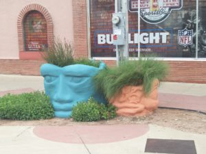 unique planters in downtown Pueblo