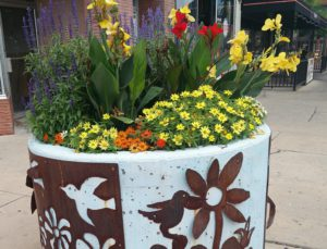 Metal work designed planter in downtown Pueblo