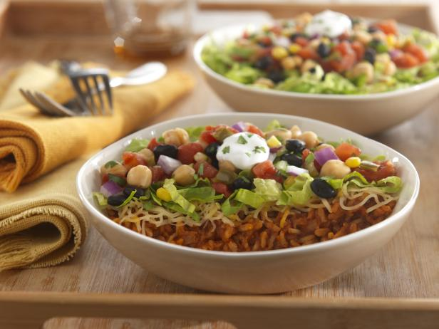 burrito bowl with beans and veggies