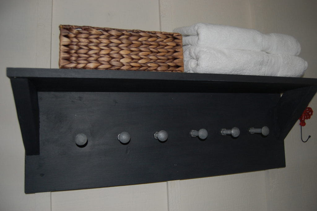 Hand made bathroom storage shelf
