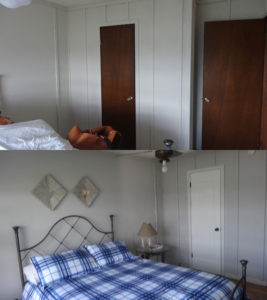 Before and After pic of upcycled doors