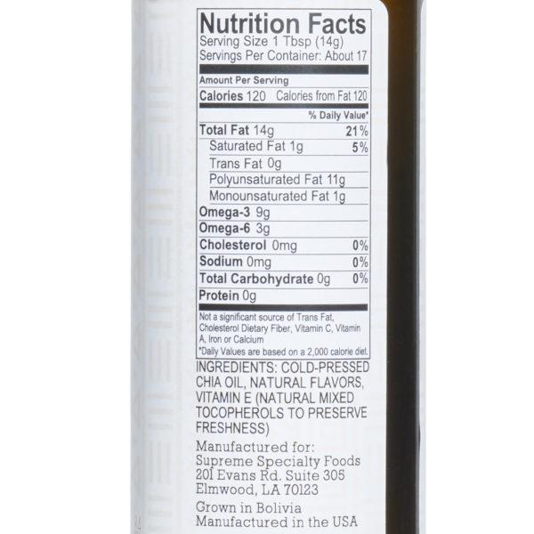 Sriracha Chia Seed Oil details