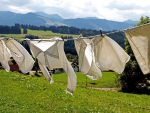 Laundry hanging in the montains