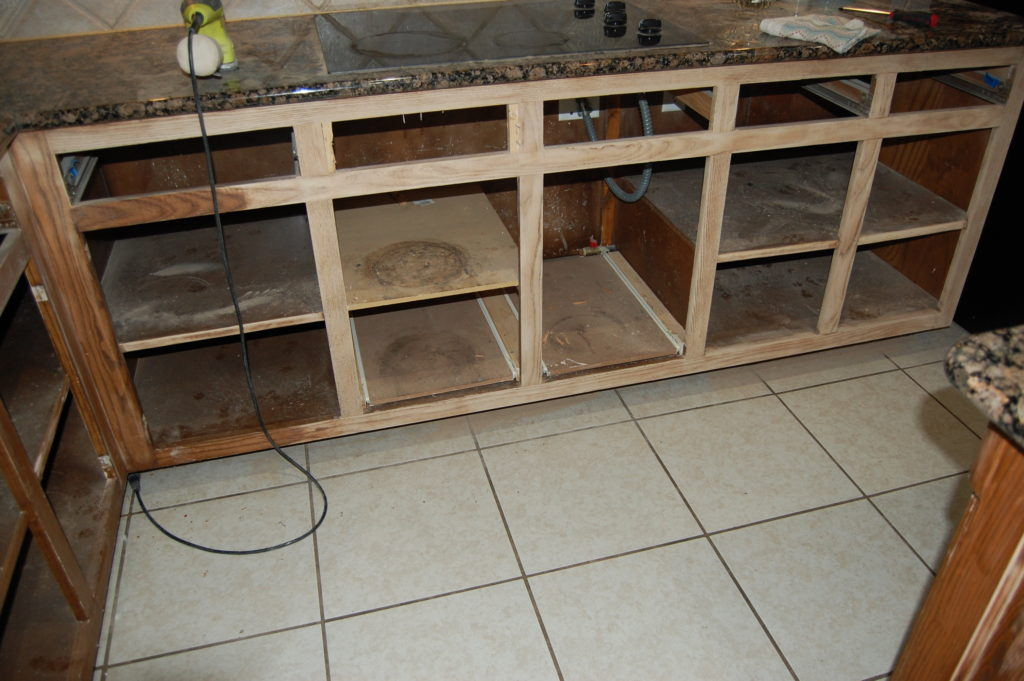 "Cabinet interiors ""before"""