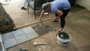 Install tiles with mortar